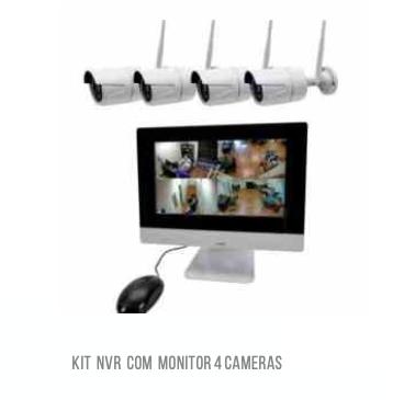 Kit 4 Câmeras sem fio WI-FI HD com monitor Luatek