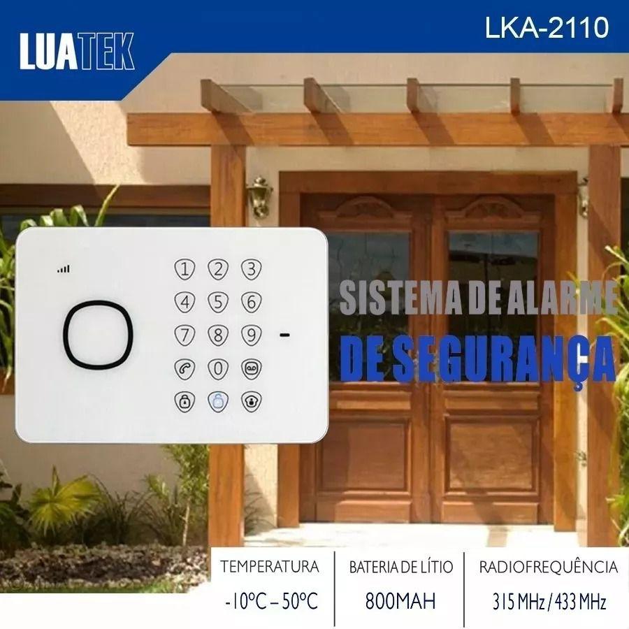 Kit Alarme Residencial Gsm Alerta Sms Bateria Smart LKA-2110 Luatek  - Wtech vendas e Assistência técnica