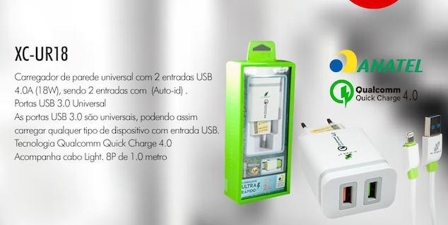 KIT CARREGADOR 4.0A COM CABO IPHONE XC-UR-18 XCELL