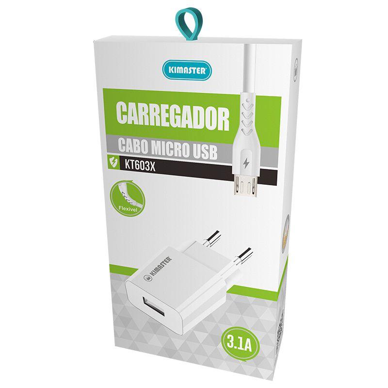 KIT CARREGADOR + CABO MICRO USB 3.1A KIMASTER