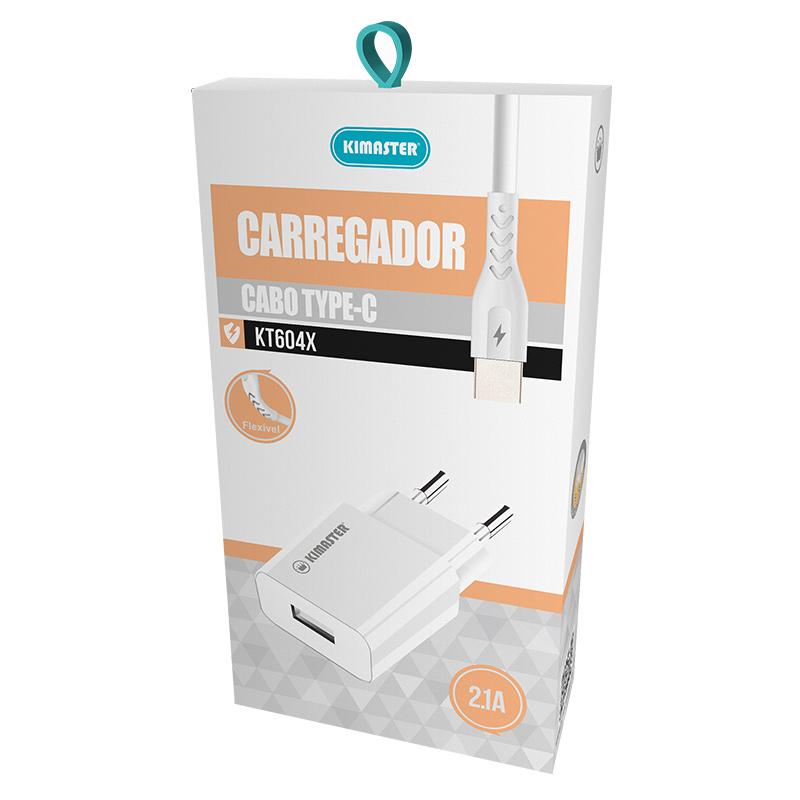 KIT CARREGADOR + CABO TYPE-C 2.0 KIMASTER