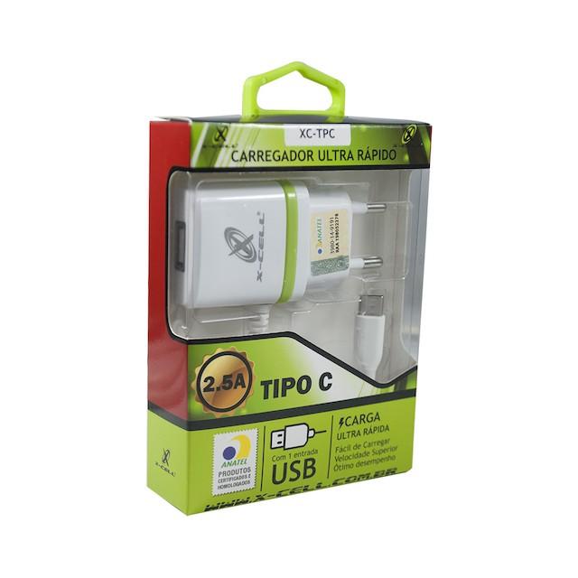 KIT CARREGADOR RAPIDO TIPO-C 1 USB 2.5A X-CELL