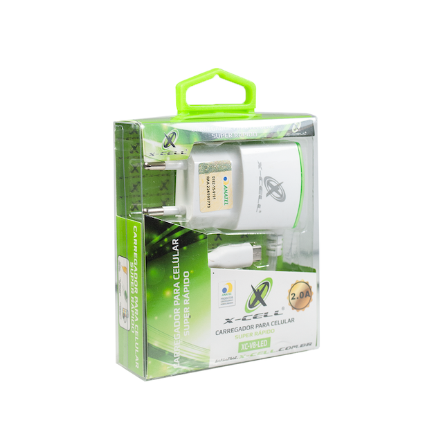 KIT CARREGADOR RAPIDO V8 1 USB 2.0a X-CELL