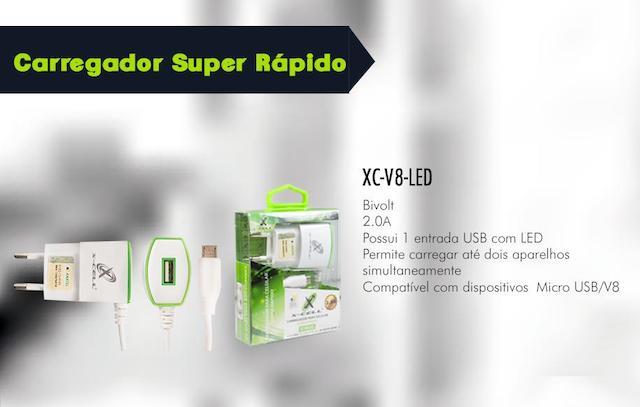 KIT CARREGADOR RAPIDO V8 1 USB 2.0A X-CELL