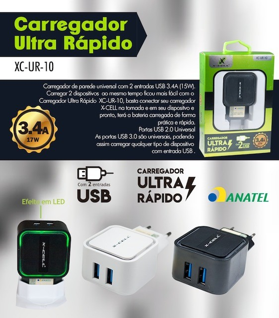 KIT CARREGADOR ULTRA RÁPIDO 2 USB 17W 3.4A XC-UR-10 XCELL