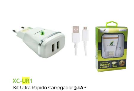 KIT CARREGADOR ULTRA RÁPIDO 3.1A + CABO MICRO USB XC-UR1 XCELL