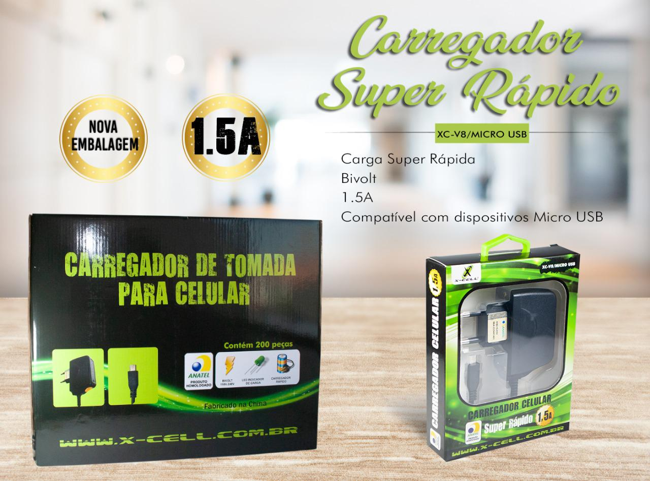 KIT CARREGADOR V8 1,5A X-CELL