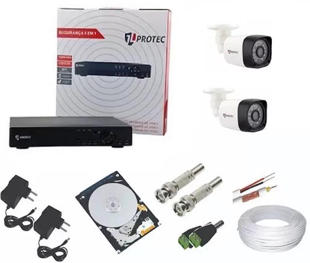 Kit CFTV 2 CÂMERAS AHD 1080p JL PROTEC
