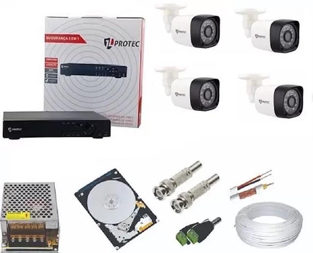 Kit CFTV 4 CÂMERAS AHD 1080p JL PROTEC