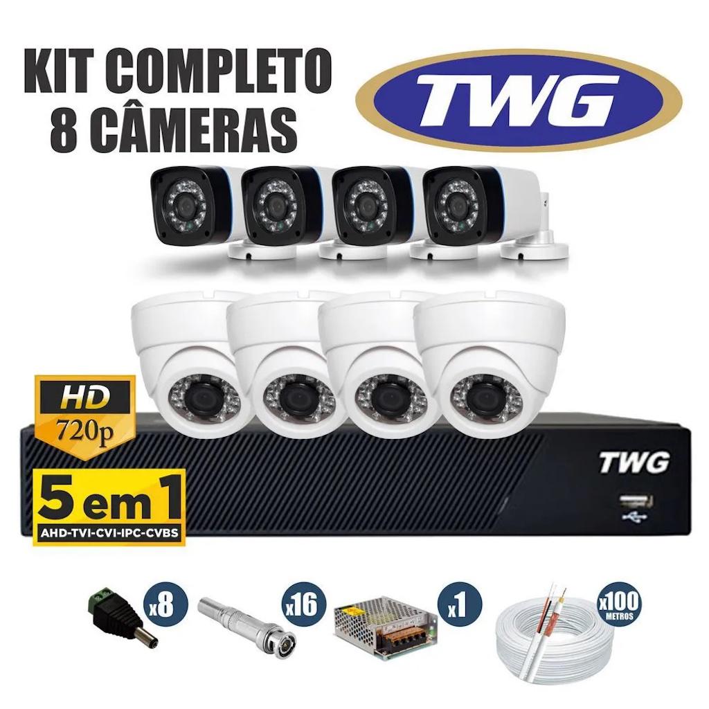 Kit CFTV TWG 8 CÂMERAS AHD 720p DVR 8 Canais