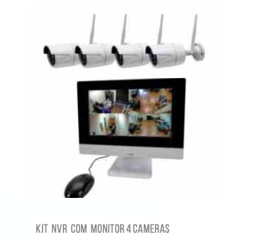 KIT NVR COM MONITOR 4 CAMERAS WIFI