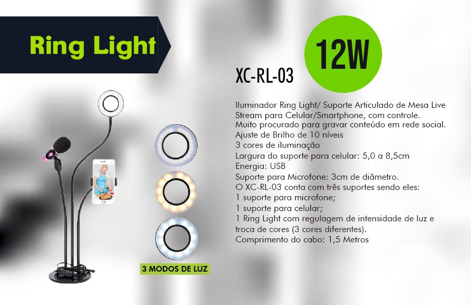 KIT RING LIGHT MESA COM SUPORTE MICROFONE E CELULAR