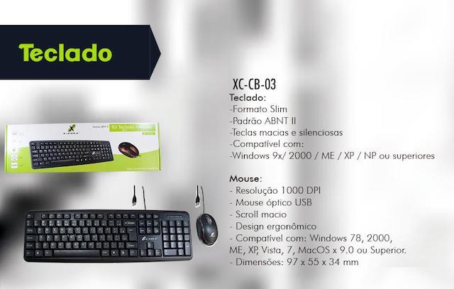 KIT TECLADO E MOUSE COM FIO X-CELL XC-CB-03