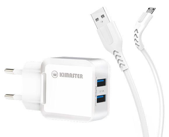 KT608X-Kit Carregador com 2 USB + Cabo Micro USB 2.4A