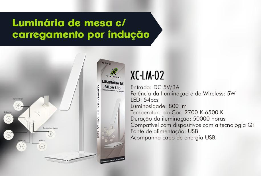 LUMINARIA DE MESA C/ CARREGAMENTO INDUÇÃO XC-LM-02 XCELL