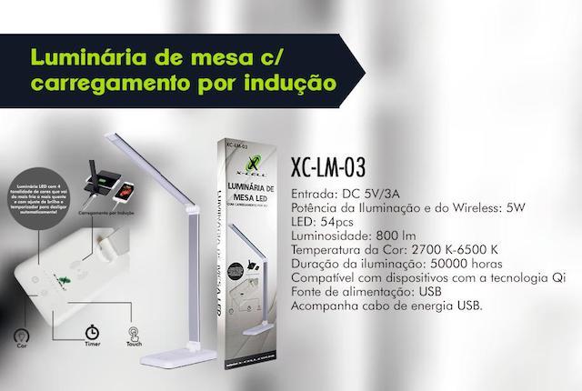 LUMINARIA DE MESA C/ CARREGAMENTO INDUÇÃO XC-LM-03 XCELL