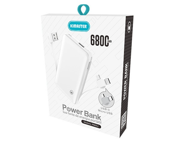 POWER BANK SLIM COM CABO REMOVÍVEL 6800MAHH PN952X KIMASTER