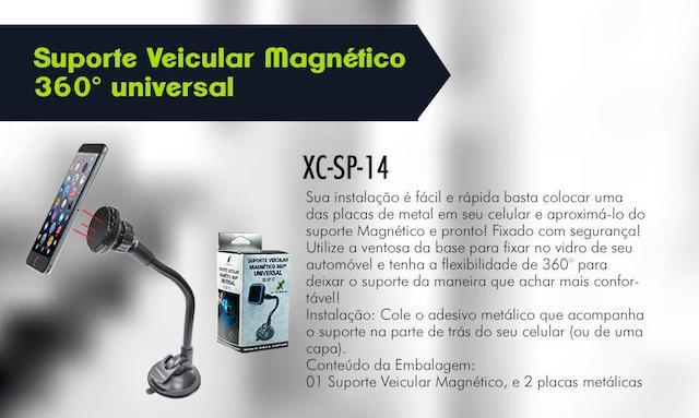 SUPORTE VEICULAR MAGNETICO 360 VENTOSA AR XC-SP-14 XCELL