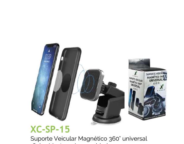 SUPORTE VEICULAR MAGNETICO 360 VENTOSA AR XC-SP-15 XCELL