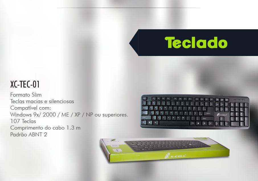 TECLADO COM FIO USB XC-TEC-01 X-CELL