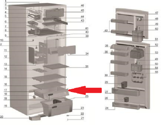 GAVETA DE FRUTAS REFRIGER.DF47-DF50-DFN50-DF50X-DW50X-DFW50