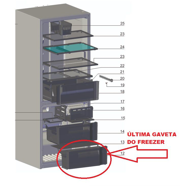 Gaveta Inferior do Freezer DB52 DB53 DB52X DB53X DT52X