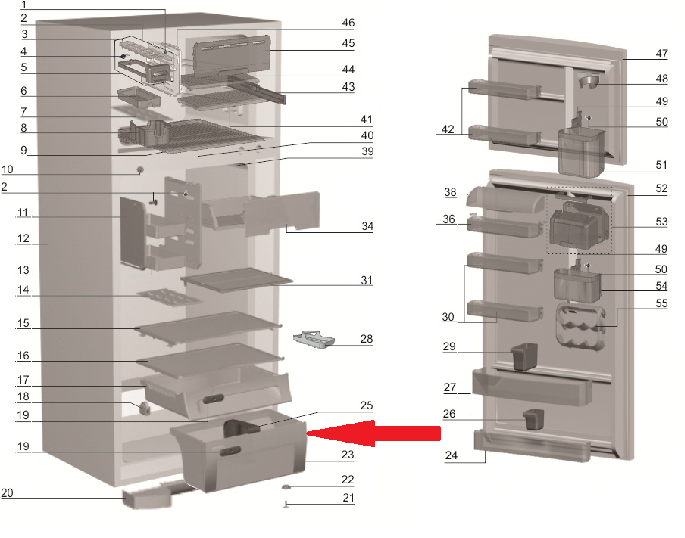 GAVETA LEGUMES REFRI DF47-DF50-DFN50-DF50X-DFW50-DFX50-DW50X