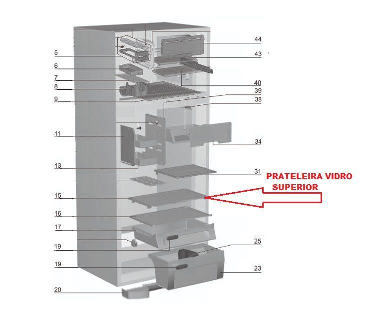 PRATELEIRA DE VIDRO SUPERIOR GELADEIRA ELECTROLUX-DF46-DF47-DF49-DF50-DFN50