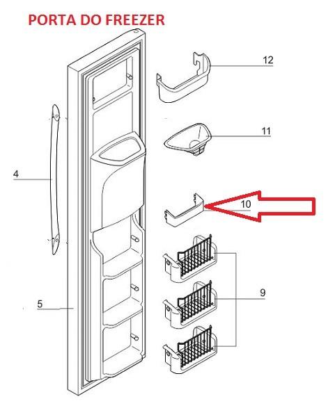 Prateleira Dispenser Side By Side SS75 SS75X SS76X SS77X SS74X