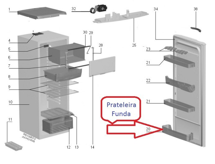 PRATELEIRA FUNDA PORTA RE26-RE28-RE29-RDE30-RDE31-DF34-DC34A