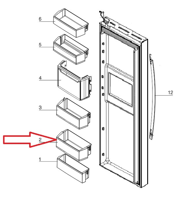 Prateleira Inferior da porta Geladeira Side By Side SH78X