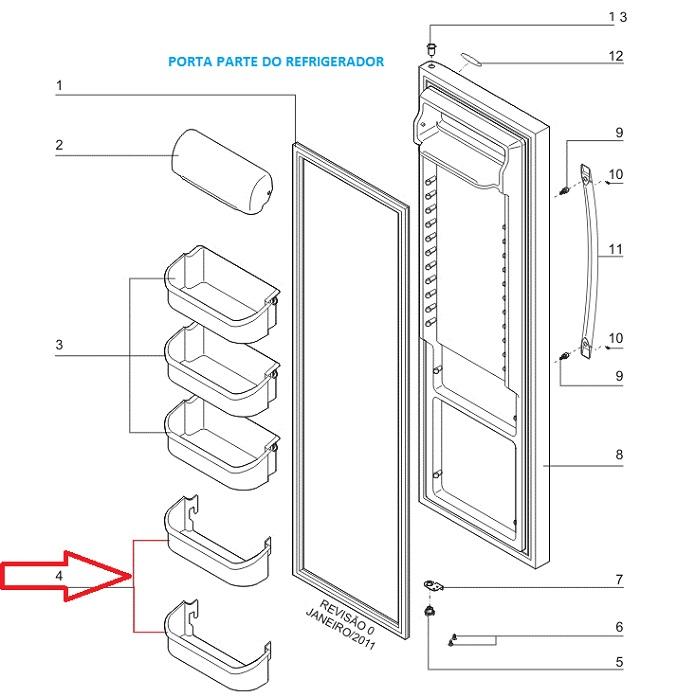 Prateleira Inferior Porta Geladeira Side By Side SS74X SS75X SS76X SS77X