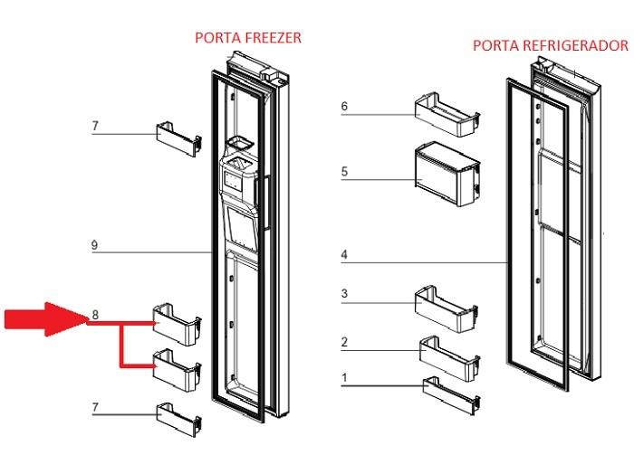 Prateleira Porta do Freezer do Refrigerador Electrolux SS90X
