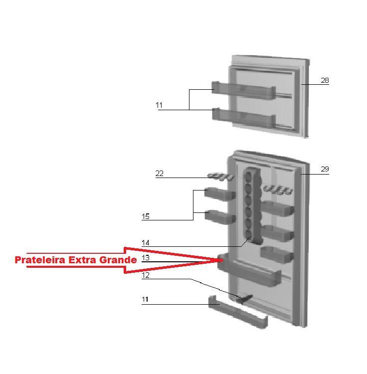 Prateleira Porta Geladeira Electrolux Extra Grande Dc45 Dc47 DC48