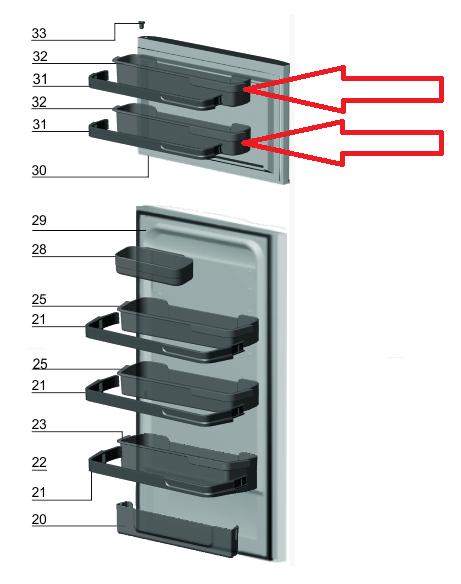 Prateleira Porta Superior Geladeira DF42 DF42X DW42X