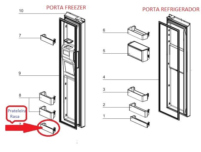 Prateleira Rasa Porta Freezer Geladeira Electrolux SS90X