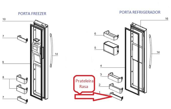 Prateleira Rasa Porta Geladeira Electrolux Side By Side SS90X
