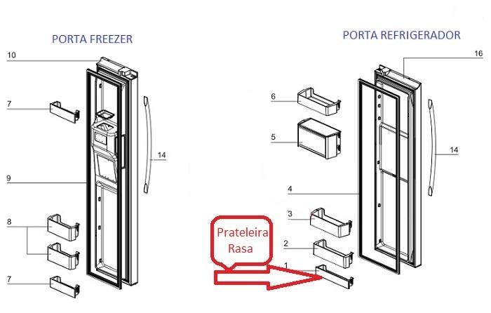 PRATELEIRA RASA PORTA REFRIGERADOR SIDE BY SIDE ELECTROLUX SS90X