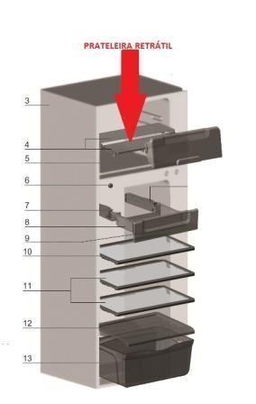Prateleira Retrátil Freezer Geladeira Electrolux DF42 DFN42