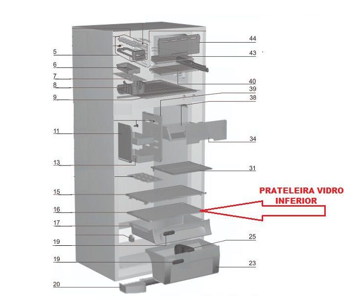 Prateleira Vidro Inferior Geladeira Electrolux DF47 DF50 DFN50
