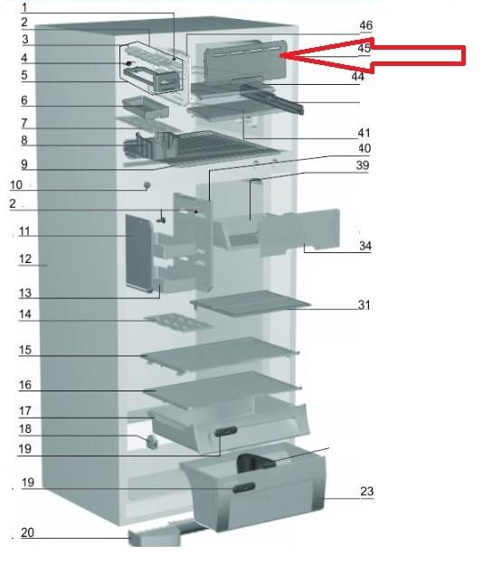 TAMPA BASCULANTE GELADEIRA ELECTROLUX DF46-DF47-DF49-DF50-DFN49-DFN50