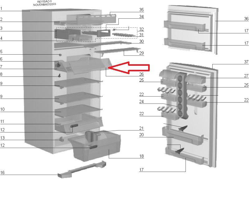Tampa Compartimento Gelado Geladeira Electrolux Df38 Df40 Df41 Df45