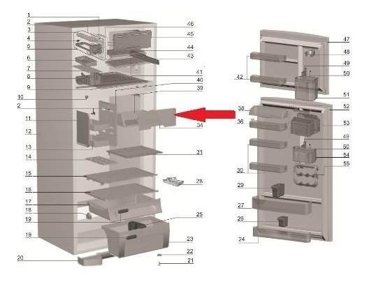 TAMPA COMPARTIMENTO GELADO GELADEIRA ELECTROLUX-DF47-DF50-DFN50-DFW50-DF50X