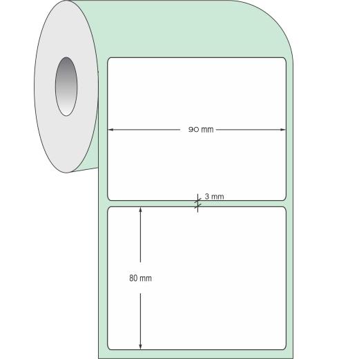 Rolo de Etiqueta Adesiva - Medida 80 x 90mm