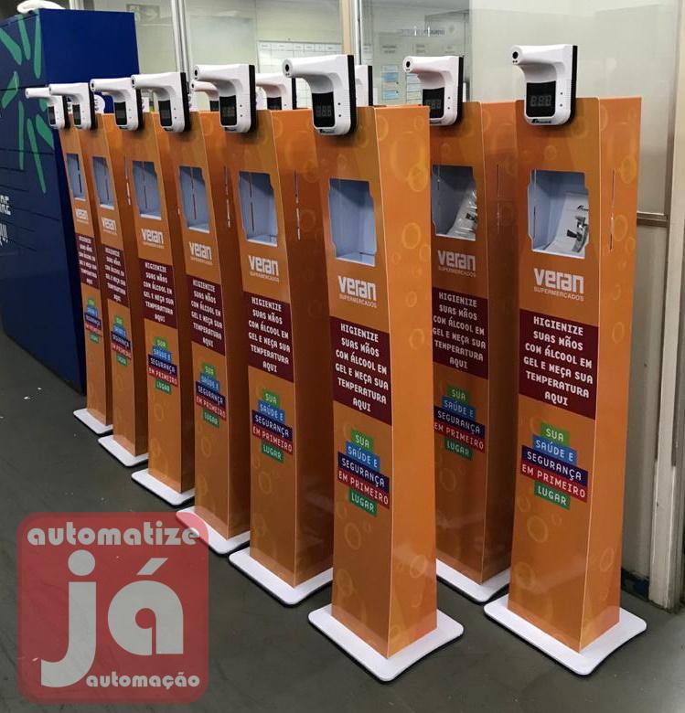 Totem dispenser de álcool gel automático