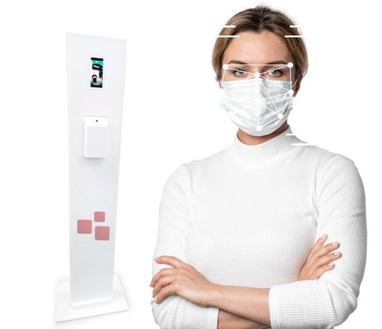 Totem de reconhecimento facial dispensador de ácool gel