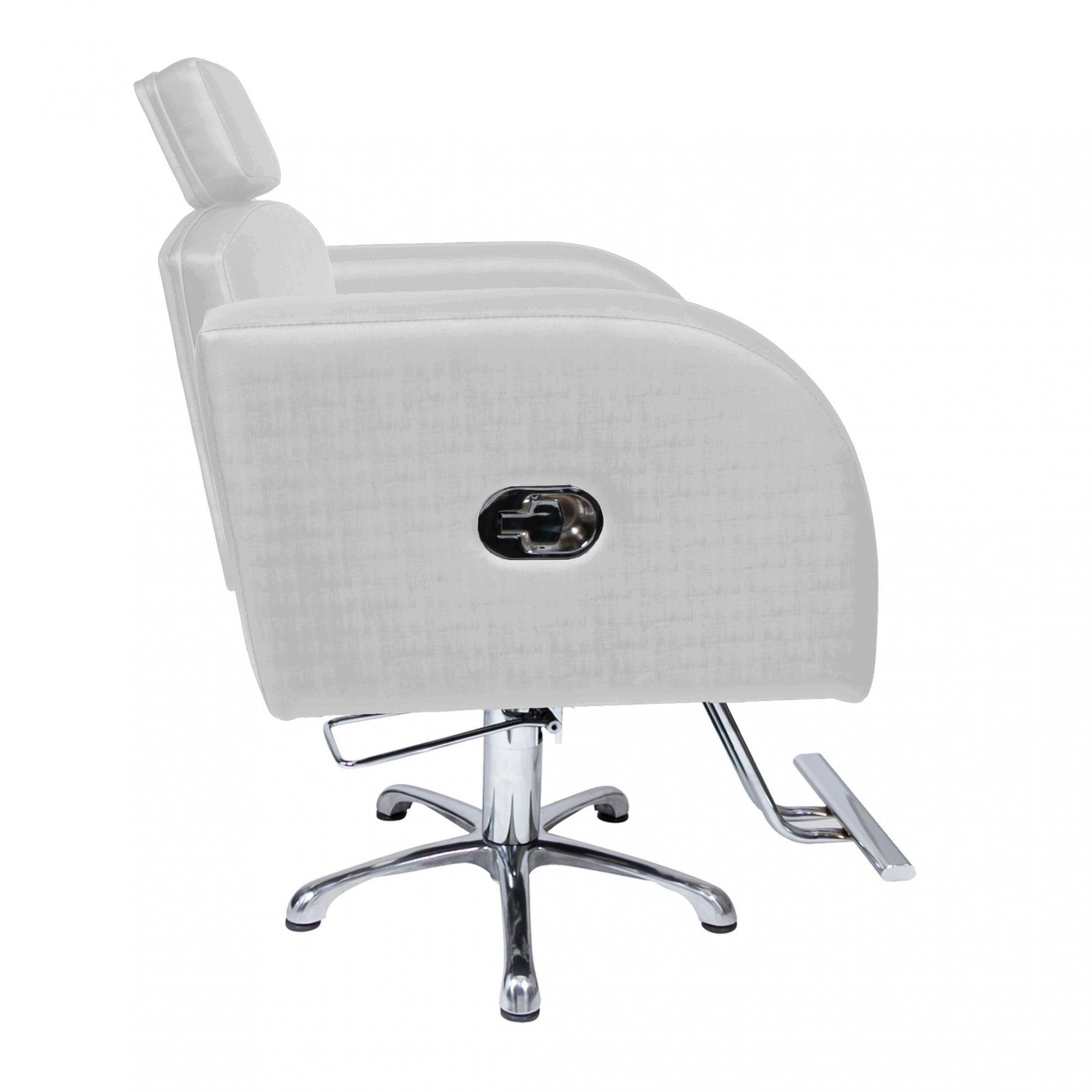 Poltrona Cadeira Hidráulica Destak Reclinável Para Salão Prata Factor