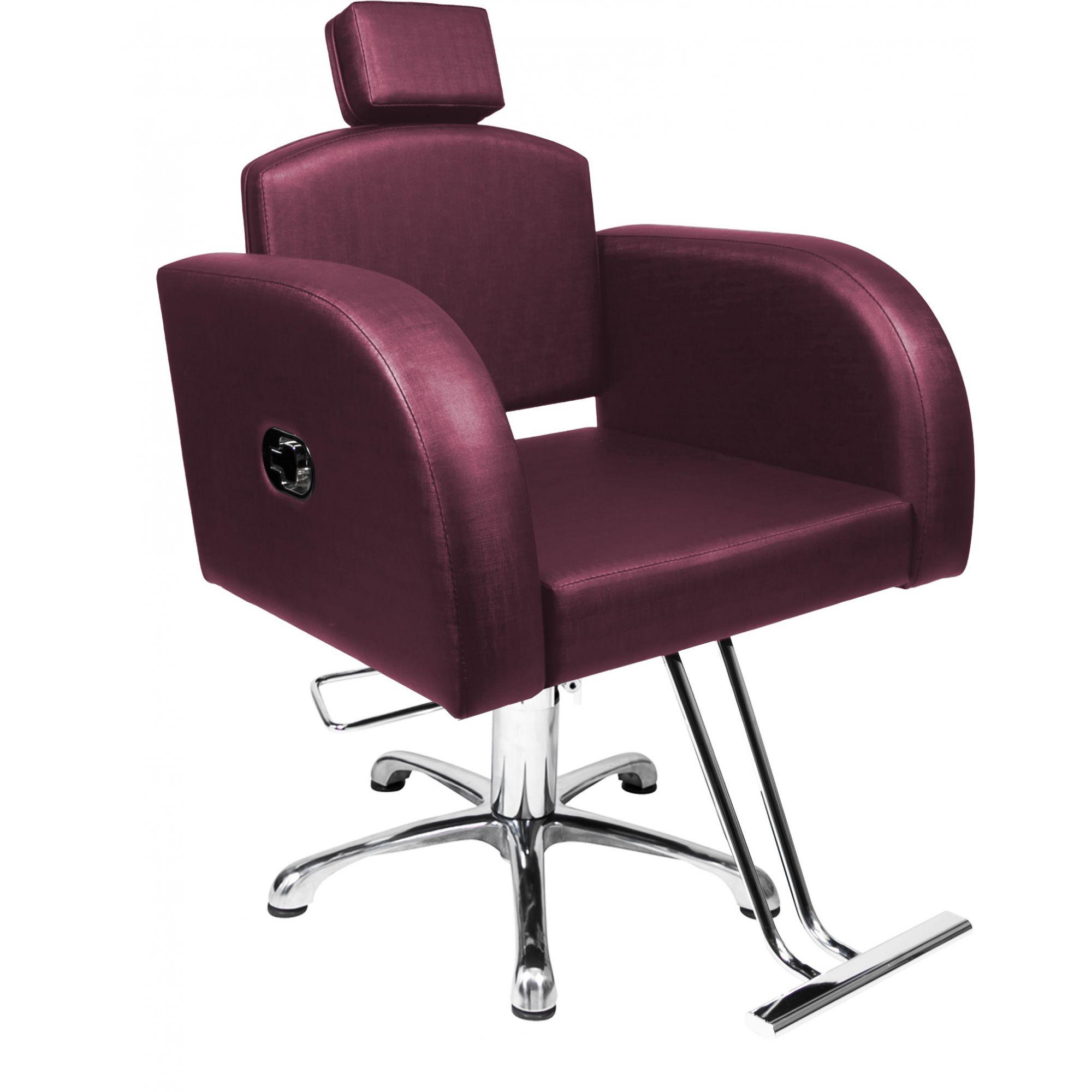 Poltrona Cadeira Hidráulica Destak Reclinável Para Salão Vinho Factor
