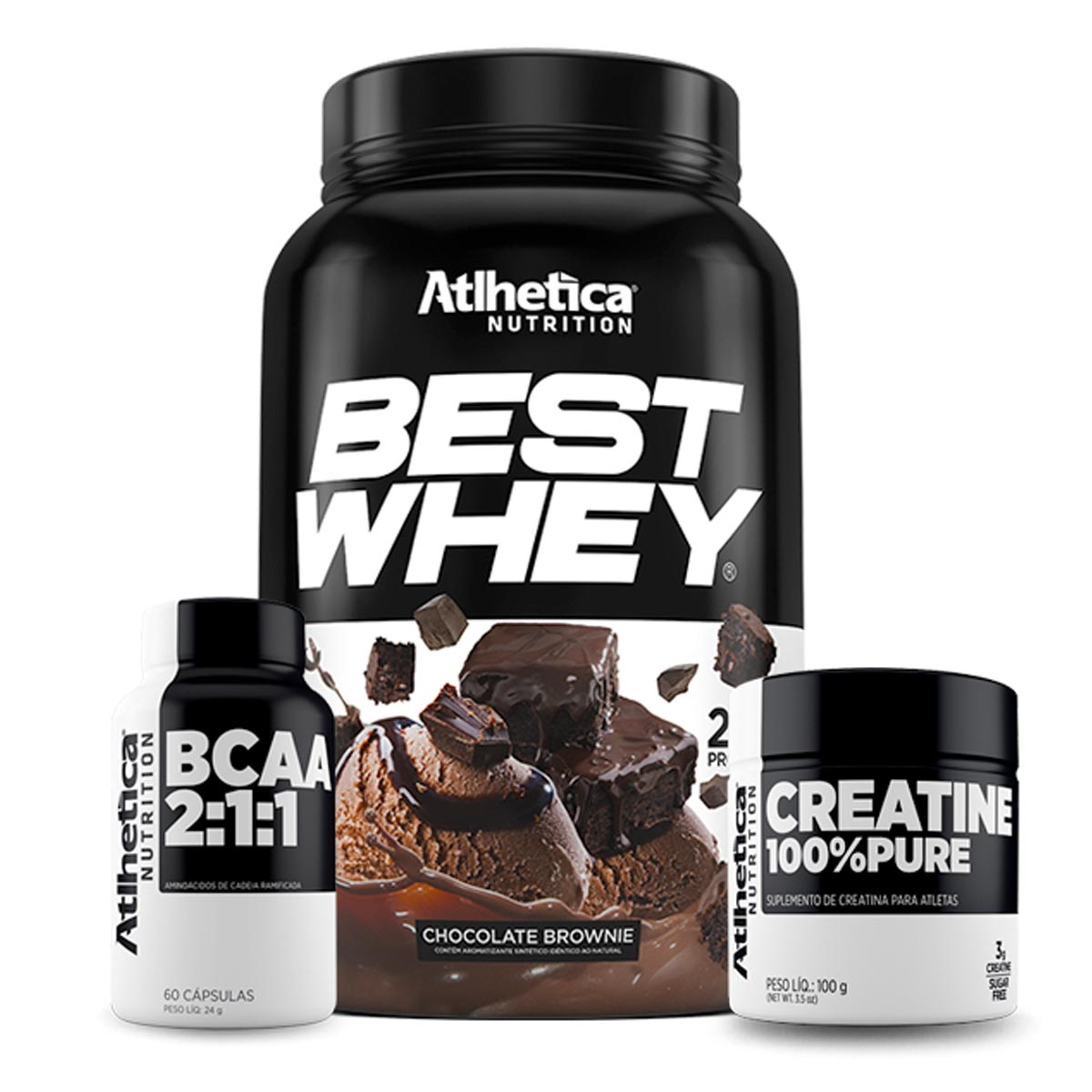 Kit Best Whey 900g + BCAA + Creatina Atlhetica Nutrition