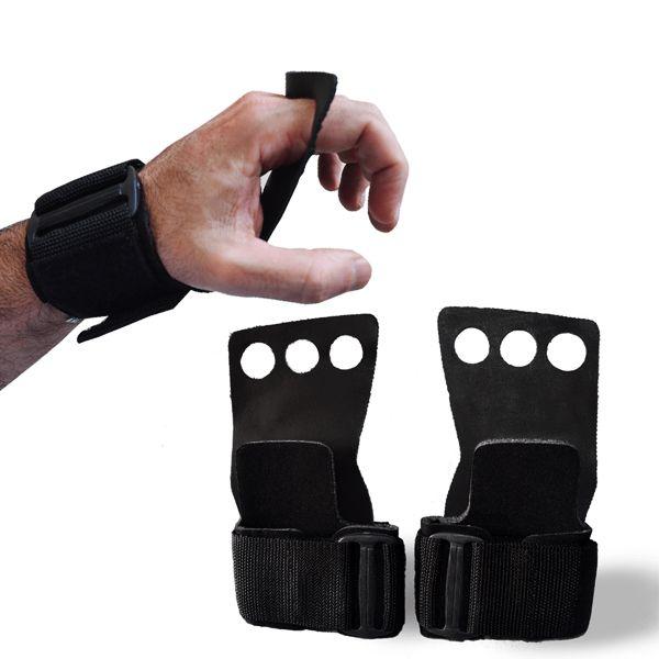 Luva Grip P/ Crossfit Preta 3 furos - Par (2 Unidades)